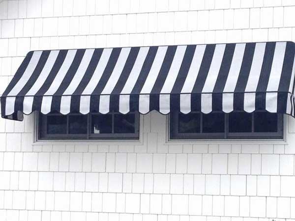 Blue and White Stripe Awning