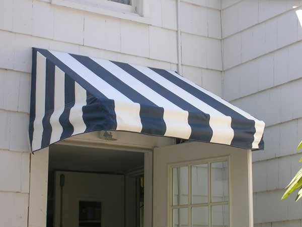 blue striped fixed frame awnings