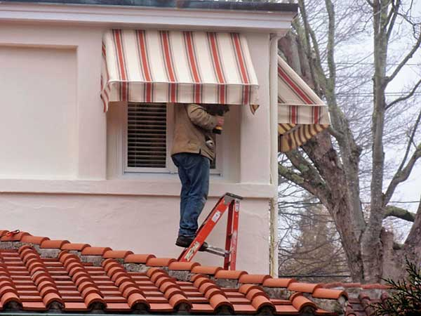 red striped fixed frame awnings