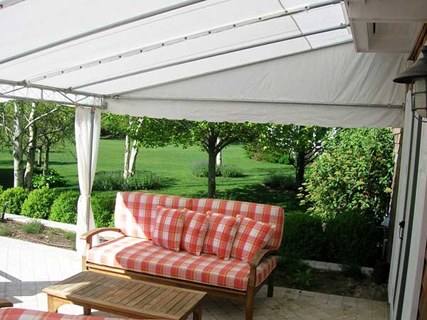 white tent fixed frame awnings
