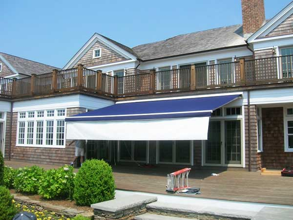 Blue Retractable Awning