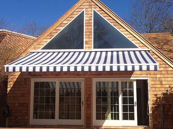 Blue Stripes Retractable Awning