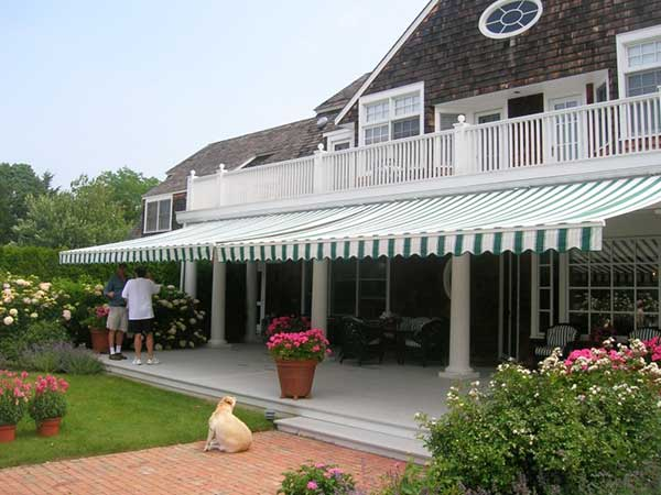 green and white Retractable Awning