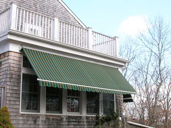 Green Stripes Retractable Awning