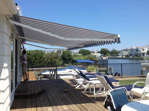 Narrow striped deck Retractable Awning