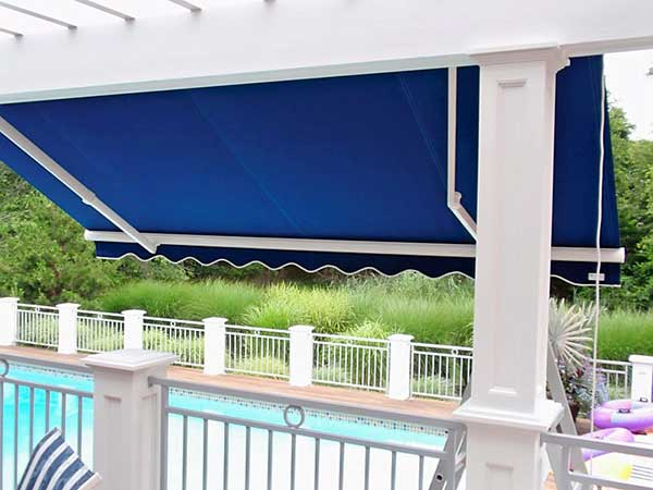 Residential Blue Retractable Awning