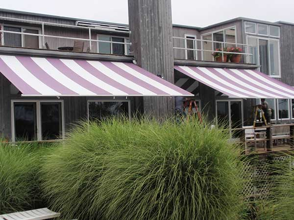 Striped Deck Retractable Awning