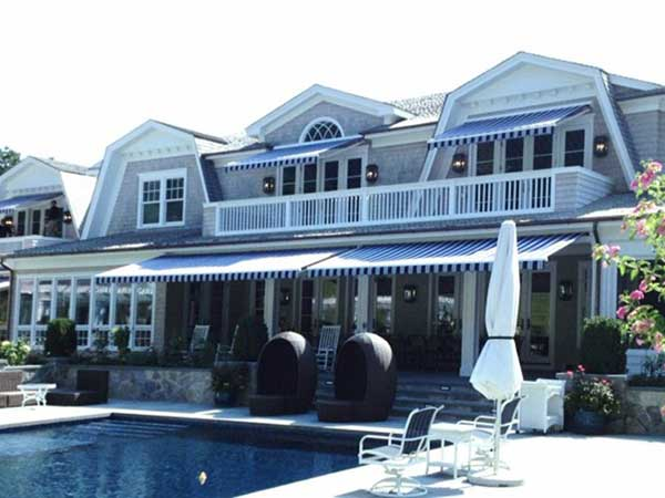 Striped Retractable Awning