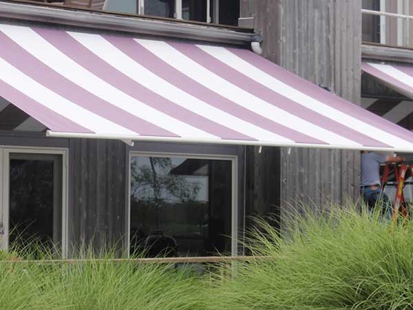 Wide Striped Deck Retractable Awning